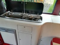 Curved kitchen camper unit
